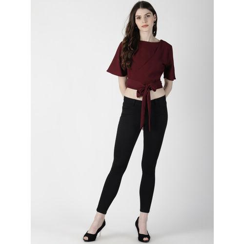 AARA Women Maroon Solid Styled Back Crop Top