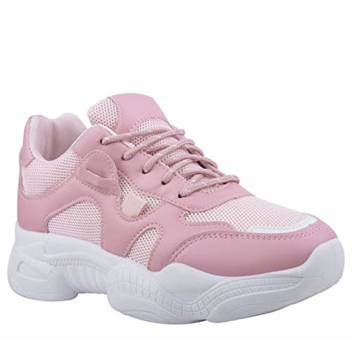 Irsoe Comfortable and Latest Casuals Shoes|Sports Shoes Athletic |Walking Shoes for Girls (White/Pink)