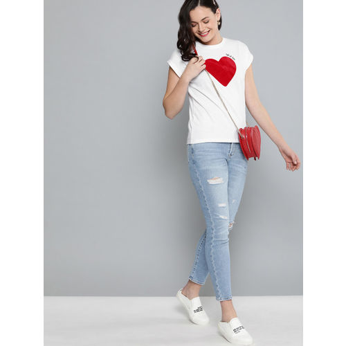 Mast & Harbour Women Twin Collection White Printed Round Neck T-shirt