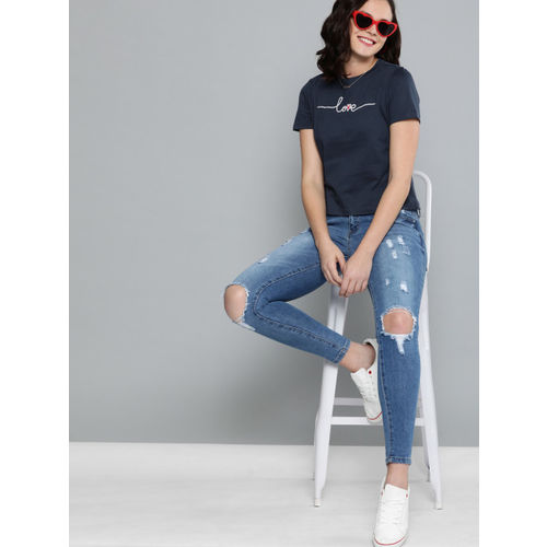 Mast & Harbour Women Navy Blue Twin Collection Printed Round Neck T-shirt