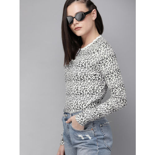 Roadster Women White & Grey Animal Printed Round Neck T-shirt