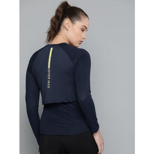 HRX by Hrithik Roshan Women Navy Blue Solid Rapid Dry Round Neck Sports T-shirt