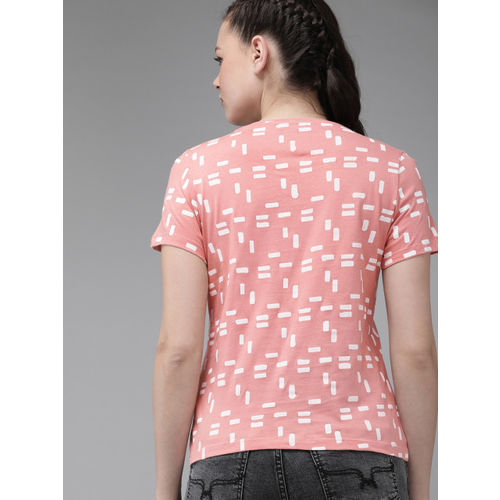 Roadster Women Peach-Coloured & Navy Blue Pack Of 2 Printed Round Neck T-shirt