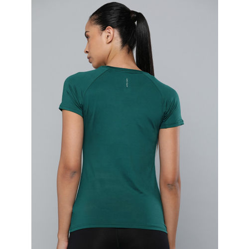 HRX by Hrithik Roshan Women Teal Green Rapid Dry Solid Round Neck Active T-shirt