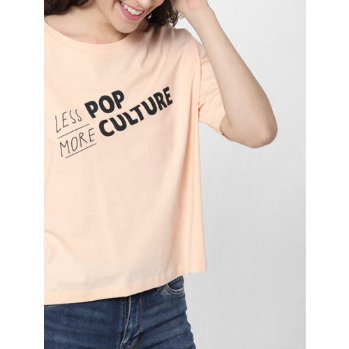 ONLY Women Peach-Coloured Printed Round Neck T-shirt