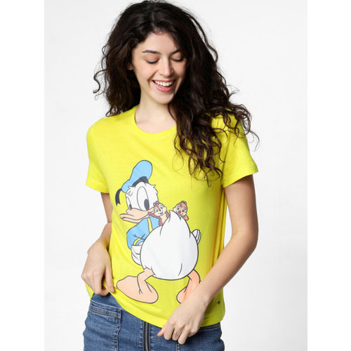 ONLY Women Fluorescent Green Donald Duck Printed Round Neck T-shirt