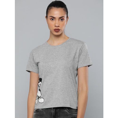 Kook N Keech Disney Women Grey Mickey Mouse Printed Round Neck T-shirt