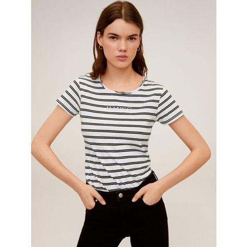 MANGO Women White & Black Striped Round Neck T-shirt