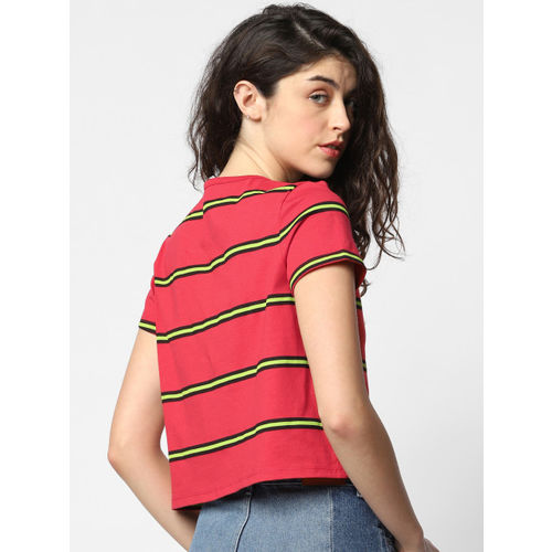 ONLY Women Red & Green Striped Round Neck Cropped T-shirt