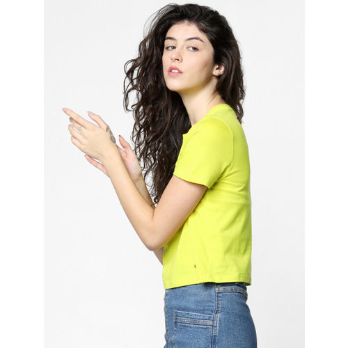 ONLY Women Fluorescent Green Printed Round Neck Cropped T-shirt