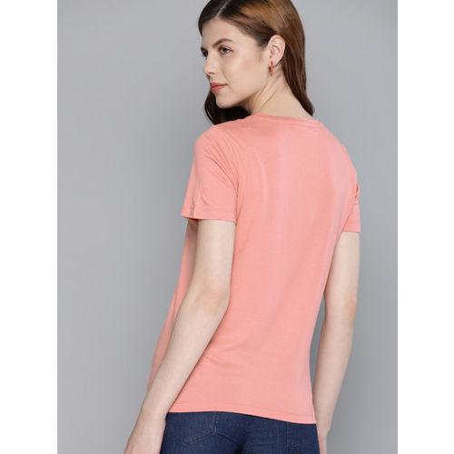 Mast & Harbour Women Peach-Coloured Printed Round Neck T-shirt