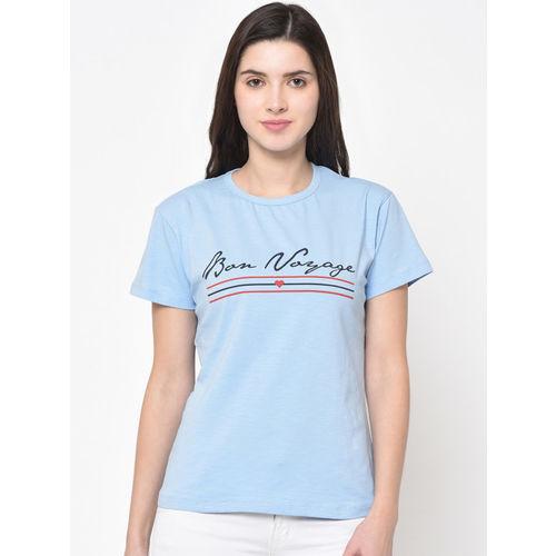 ARMISTO Women Blue Printed Round Neck T-shirt