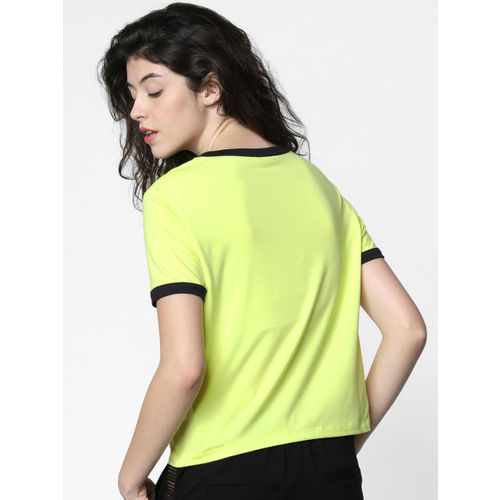 ONLY Women Fluorescent Green Solid Round Neck T-shirt