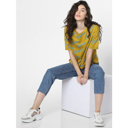 ONLY Women Olive Green & Blue Boxy Fit Printed Round Neck T-shirt