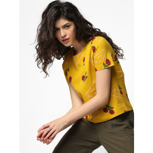 ONLY Women Mustard Yellow & Red Printed Round Neck T-shirt