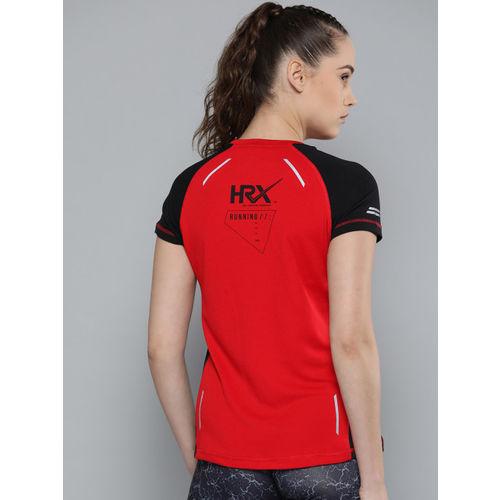 HRX by Hrithik Roshan Women Red Printed Back Running Tshirt