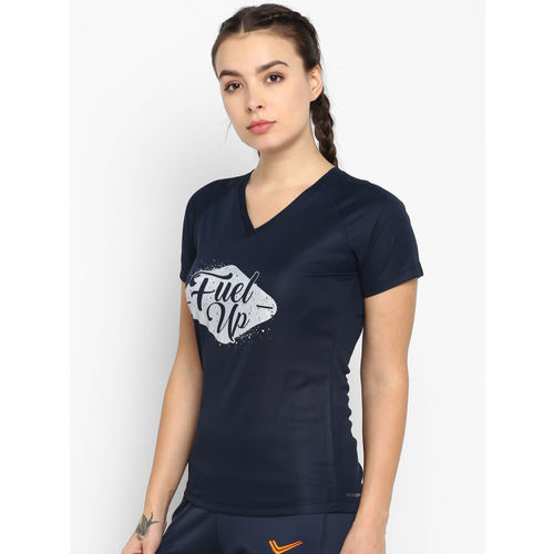 Yuuki Women Navy Blue Printed V-Neck T-shirt