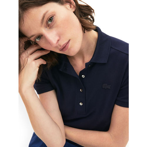 Lacoste Women Navy Blue Solid Polo Collar T-shirt