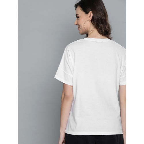 Mast & Harbour Women White Printed Round Neck T-shirt