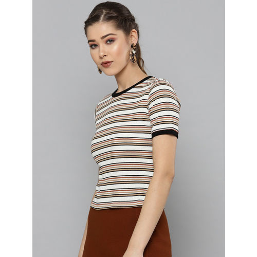 VividArtsy Women White & Brown Striped Slim Fit Round Neck T-shirt