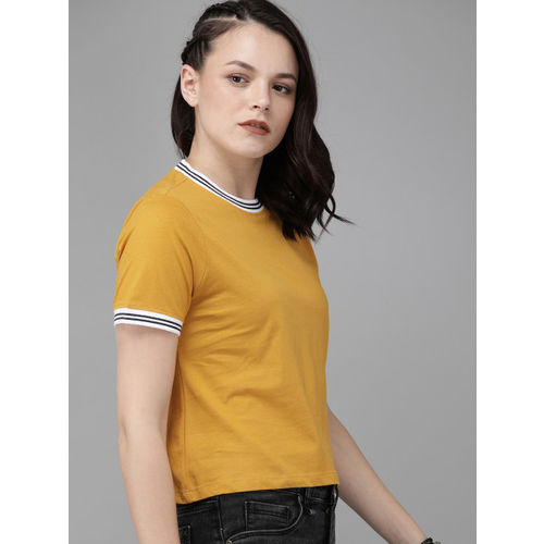 Roadster Women Mustard Yellow Solid Round Neck Cropped T-shirt