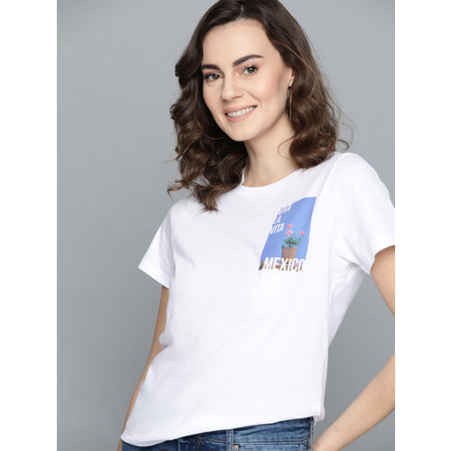 Mast & Harbour Women White Solid Round Neck T-shirt