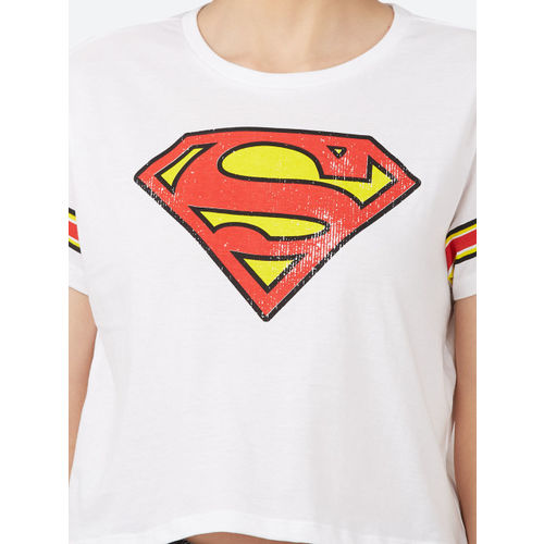 Superman Women White Printed Round Neck Crop T-shirt
