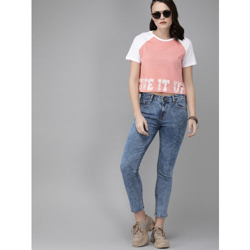 Roadster Women Pink & White Printed Round Neck Cropped T-shirt