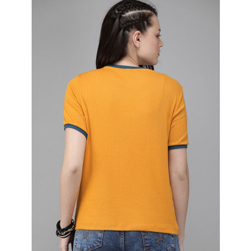 Roadster Women Mustard Yellow Ribbed Round Neck T-shirt