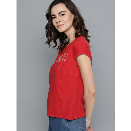 Mast & Harbour Women Red Printed Round Neck T-shirt