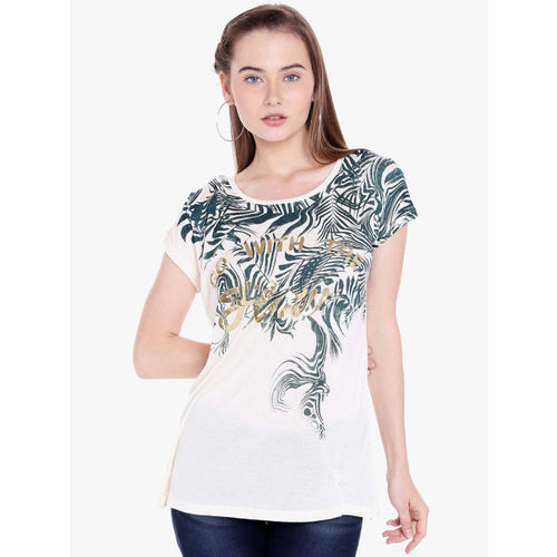 SPYKAR Women Off-White Printed Round Neck T-shirt