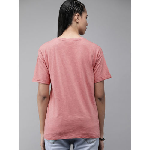Roadster Women Pink Solid Round Neck T-shirt