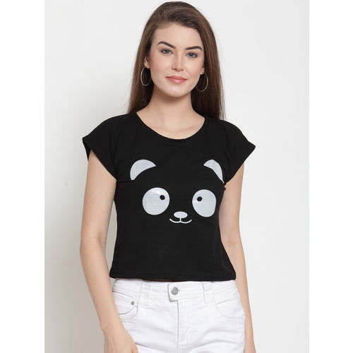 Everlush Women Black Printed Round Neck T-shirt