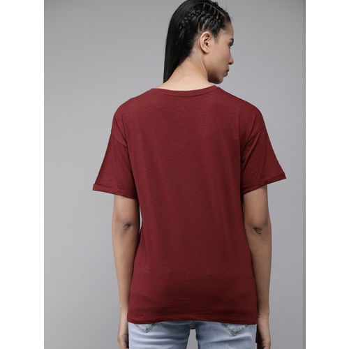 Roadster Women Maroon Solid Round Neck T-shirt