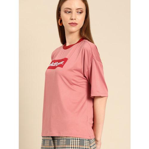 DressBerry Women Pink Printed Round Neck T-shirt