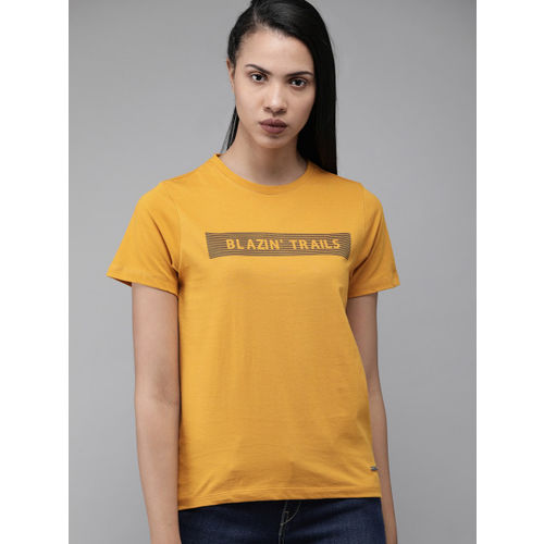 Roadster Women Mustard Yellow Printed Round Neck T-shirt