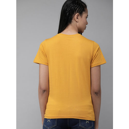 Roadster Women Mustard Yellow Printed Round Neck T-shirt