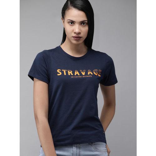Roadster Women Navy Blue Printed Round Neck T-shirt