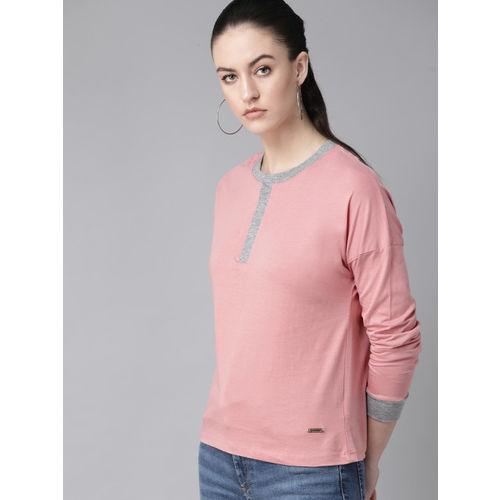 Roadster Women Dusty Pink Solid Henley Neck T-shirt