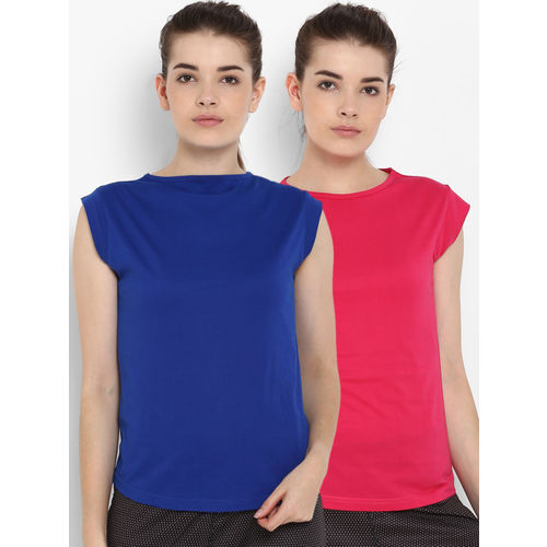 appulse Women Pack of 2 Blue & Pink Solid Round Neck T-shirt