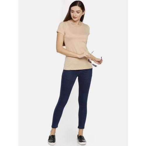 TWIN BIRDS Women Beige Solid Slim Fit Round Neck T-shirt