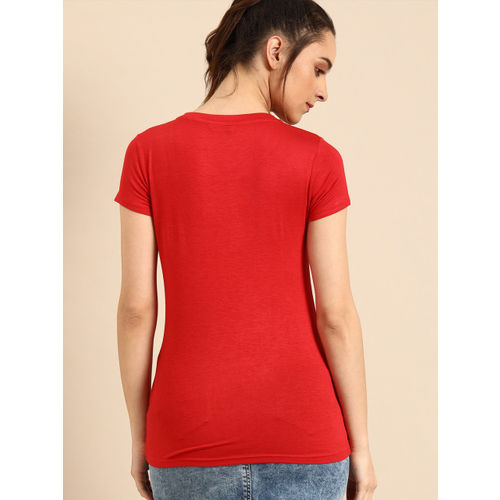 DressBerry Women Pack of 2 Black & Red Solid Round Neck T-shirt