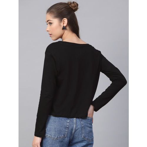 Kook N Keech Garfield Women Black Printed Round Neck T-shirt