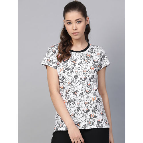 Kook N Keech Disney Women White & Black Printed Round Neck T-shirt