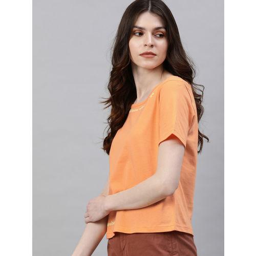 Moda Rapido Women Coral Orange Solid Round Neck T-shirt