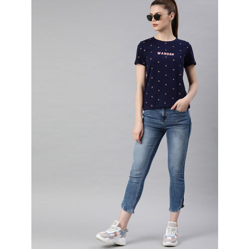 Roadster Women Navy Blue & Pink Printed Round Neck T-shirt