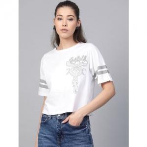 Kook N Keech Garfield Women White & Grey Printed Round Neck T-shirt