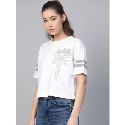 Kook N Keech Garfield Women White & Grey Printed Round Neck T-shirt