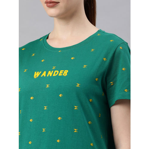 Roadster Women Green & Yellow Printed Round Neck T-shirt
