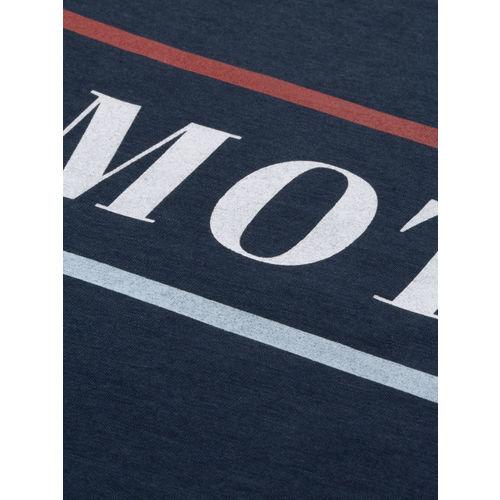 Mast & Harbour Women Navy Blue Printed Round Neck T-shirt